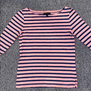 Classic Jcrew Pink & Navy Striped 3/4 Length